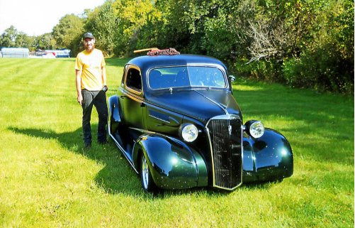 Next generation gearhead builds '37 Chevy with grandfather