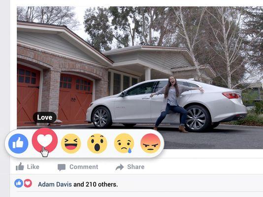 New Facebook 'Reaction' buttons prompt Chevy ad